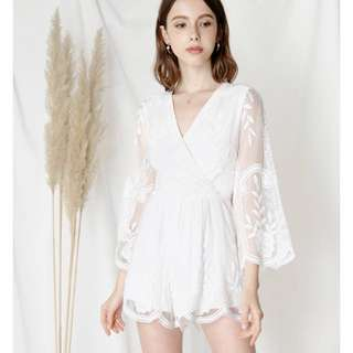 Andwelldressed Blossoms Flared Sleeves Lace Romper
