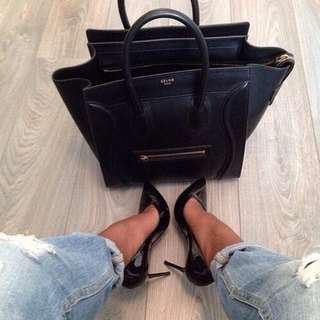 Celine Micro Luggage Tote Bag Black