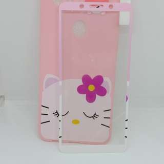 New case Cute Manjat plus Tempered Glass for f5