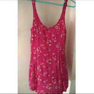Pink Floral Low Back Summer Swing Dress