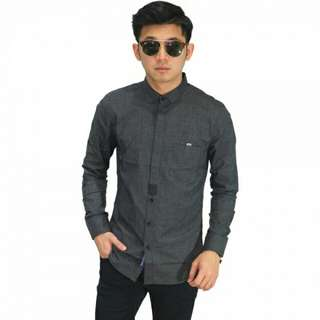PROMO - Kemeja Formal Hidden Button Dark Grey