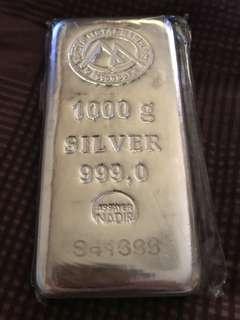 999.9 1Kg Pure silver bar