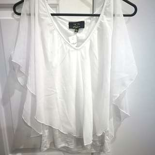 white, cold shoulder top