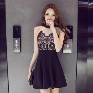 Sexy Black/Nude Dress
