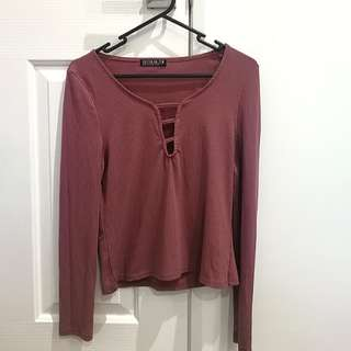 mulberry, long-sleeved top