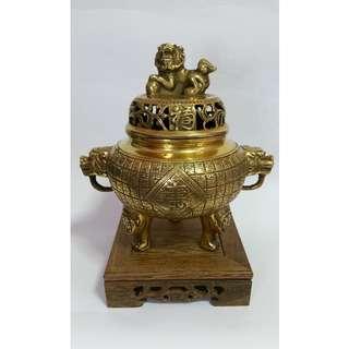 Copper Fortune/Longevity Incense Burner w Wooden Base 百福百壽铜香爐+木底座