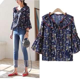 (S~2XL) 2018 Summer Chiffon Shirt Print