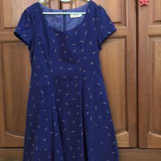 Blue Printed Skater Dress , New without Tag , flattering cut ! 👗
