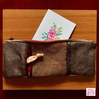Handmade minimalistic large rectangular pencil case, zipper pouch (Free postage)