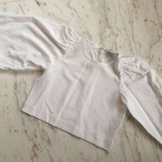 Zara White Cropped Blouse