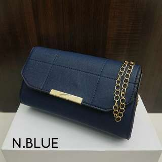 Stylish Clutch with Sling Dark Blue Color