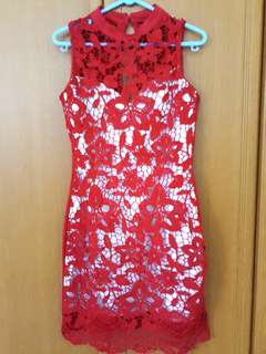 BN Red Chinese Cheongsam Lace Dress