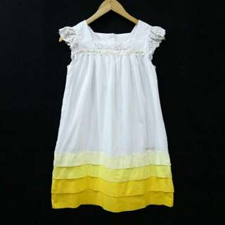 Size 150 Teenage Kids Yellow Mix White Cotton Mini Dress