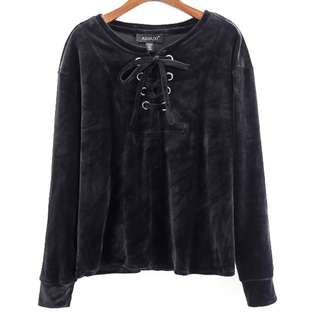 Plus Size GSS Black Velvet Korea Oversize Criss Cross Blouse Top