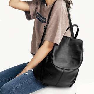 INSTOCKS Black pu leather backpack bag back pack