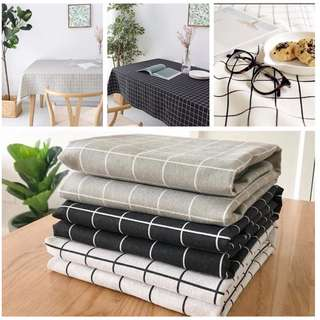 (Ready Stock) Elegant Cotton Linen Plaid Table Cloth Table Cover Dustproof Dinner Dinning