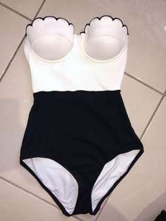 Topshop black and white one piece swimsuit