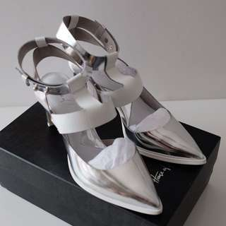 House of Avenues - Silver Ankle Strap pumps