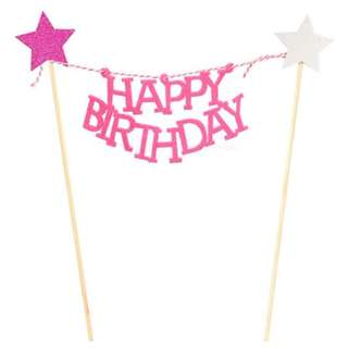 Happy Birthday with stars Garland Cake Topper – Pink