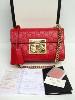 New/ NBU Gucci Padlock Red GHW -- 28,3jta nett Full Set Ori Rec Box DB PB Booklet