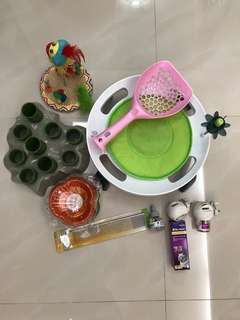 Cat Toys, eating bowls, litter scoop, litter tray & comb