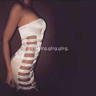 Sexy Bandage White Dress Revealing Sides Unique