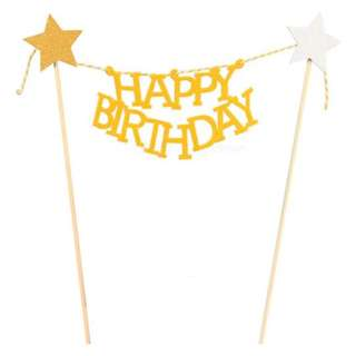 Happy Birthday with stars Garland Cake Topper – Yellow