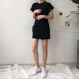 PO Short Sleeve Black Dress