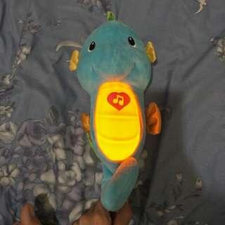 Blue musical seahorse