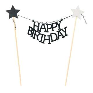 Happy Birthday with stars Garland Cake Topper – Black