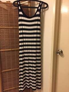 Black & white stripe T shirt dress