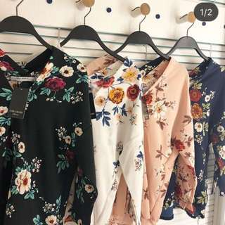 v top zara flower