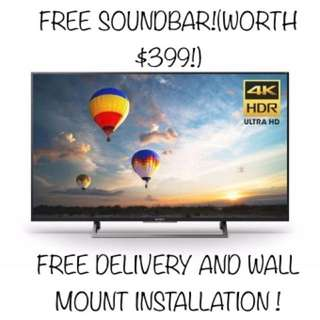 Sony 55X8000E 4K Ultra HD LED Andriod TV with free Soundbar