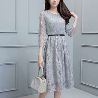 Evening Gray Lace Dress