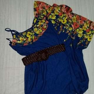Blue floral long dress with belt 😊
