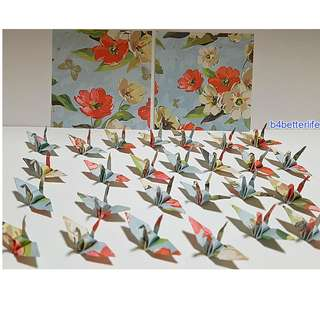 "#FC15-84e. Lot of 100pcs 1.5"" Floral Design Hand-folded Origami Paper Cranes. (JD Paper Series)"
