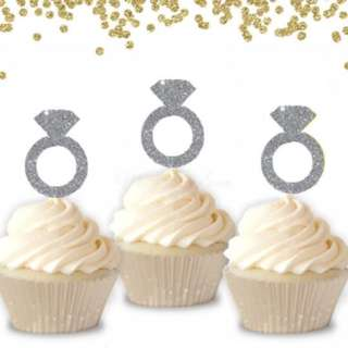 Diamond Ring Silver Glitters Cupcake Toppers 10pcs/pack