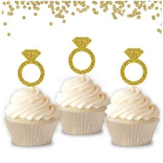 Engagement Diamond Ring Gold Glitters Cupcake Toppers 10pcs/pack
