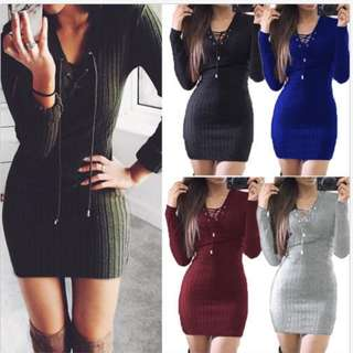 Sweater Bodycon Jumper V Neck Lace Up Knitted Dress Short Mini Dresses