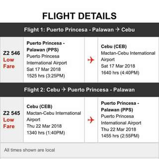 Plane Ticket PPS-CEBU roundtrip
