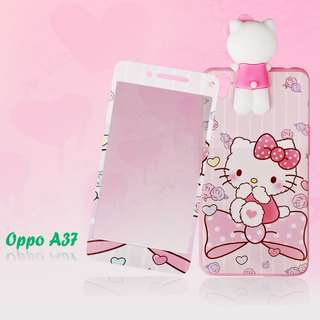 New hello kitty manjat plus tempered glass  oppo a37 neo 9