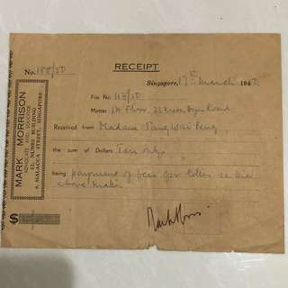 Vintage Old Receipt dated in Year 1950 issued by a Advocate and Solicitor company at Malacca Street , Singapore