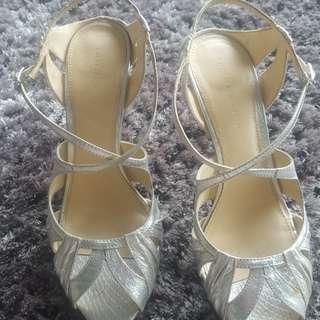 Charles & Keith silver high heels sz 39