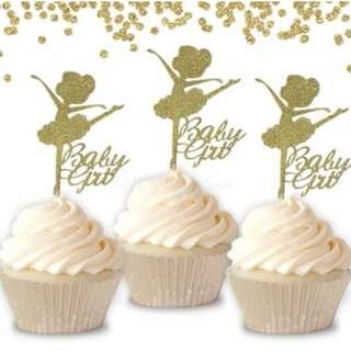 Ballerina Baby Girl Princess Theme Cupcake Toppers 6pcs/pack
