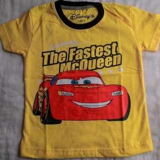 Kaos karakter anak cars kuning