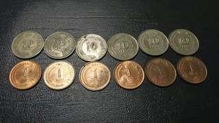 Duit Syiling Lama 10 cents dan 1 cent singapore
