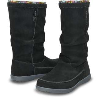 Crocs Womens Adela Suede W Boots Black Available in Sizes W4, W5, W6 100% Genuine