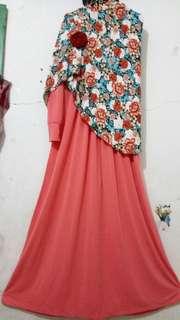 Gamis Set Hijab Bunga2
