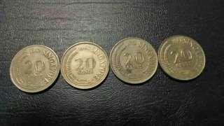 Syiling Lama 20 cents Singapore (4pcs)
