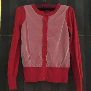 Red Cardigan With White Tulle